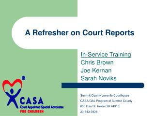 A Refresher on Court Reports