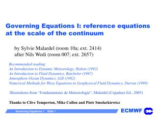 Governing Equations I: reference equations at the scale of the continuum