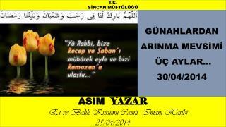 ASIM   YAZAR      Et ve Balık Kurumu Camii  Imam Hatibi                     25/04/2014