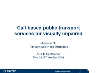 Call-based public transport services for visually impaired