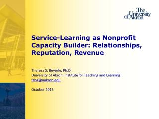 Service-Learning as Nonprofit Capacity Builder: Relationships, Reputation, Revenue