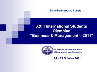 "XXIII International Students Olympiad  ""Business & Management – 2011"""