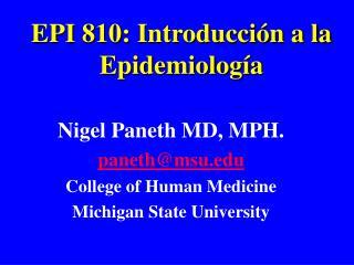 EPI 810: Introducción a la Epidemiología