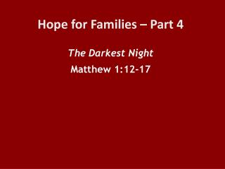 Hope for Families – Part 4
