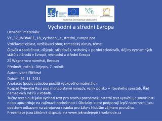 Východní a střední Evropa