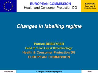 Changes in labelling regime