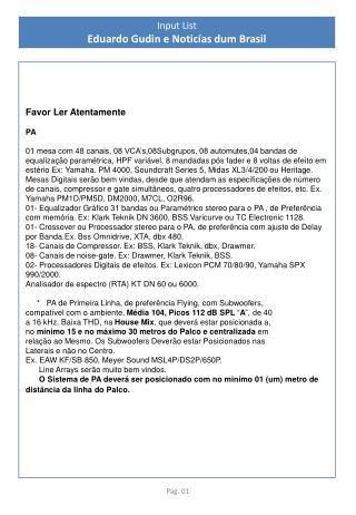 Input  List Eduardo  Gudin  e  Noticías dum Brasil