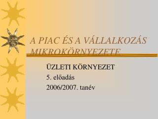 A PIAC �S A V�LLALKOZ�S MIKROK�RNYEZETE