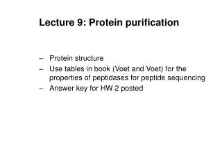 Lecture 9: Protein purification