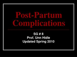 Post-Partum Complications