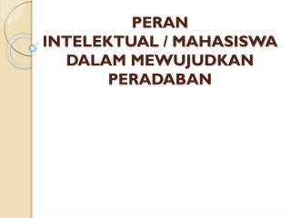 PERAN  INTELEKTUAL  / MAHASISWA  DALAM MEWUJUDKAN  PERADABAN