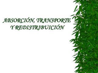 ABSORCI N, TRANSPORTE Y REDISTRIBUICI N