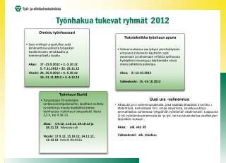 Työnhakua tukevat ryhmät  2012