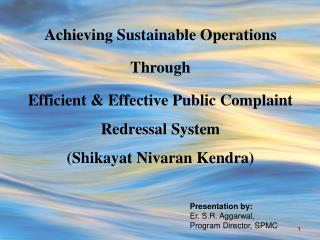 Achieving Sustainable Operations  Through