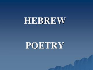 HEBREW POETRY
