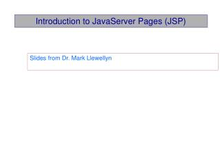 Introduction to JavaServer Pages (JSP)