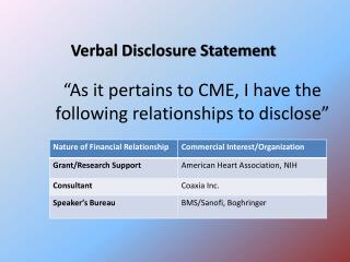 """As it pertains to CME, I have the following relationships to disclose"""