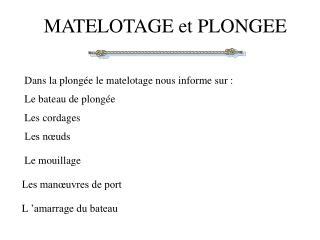 MATELOTAGE et PLONGEE