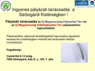 Ingyenes pályázati tanácsadás  a Sárbogárdi Kistérségben !