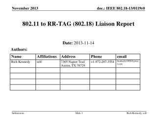 802.11 to RR-TAG (802.18) Liaison Report