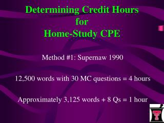 Determining Credit Hours for Home-Study CPE