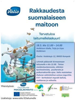 18.5. klo 11.00 – 14.00  Heikkisen tilalla, Tuija ja Urpo  Heikkinen