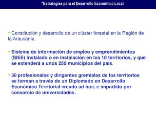 Constitución y desarrollo de un clúster forestal en la Región de la Araucanía .