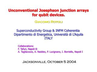 Unconventional Josephson junction arrays for qubit devices.