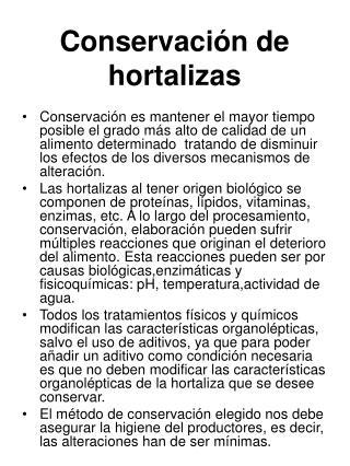 Conservación de hortalizas