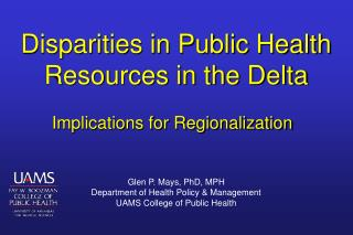 Disparities in Public Health Resources in the Delta