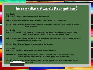 Intermediate Awards Recognition !