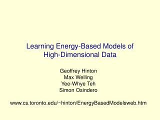 Learning Energy-Based Models of  High-Dimensional Data