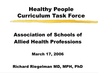 Healthy People Curriculum Task Force