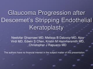 Glaucoma Progression after Descemet's Stripping Endothelial Keratoplasty