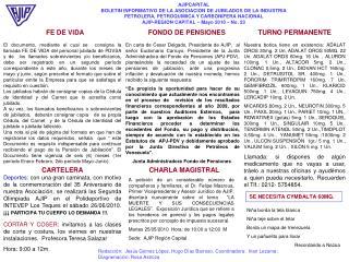 AJIPCAPITAL BOLETIN INFORMATIVO DE LA ASOCIACION DE JUBILADOS DE LA INDUSTRIA