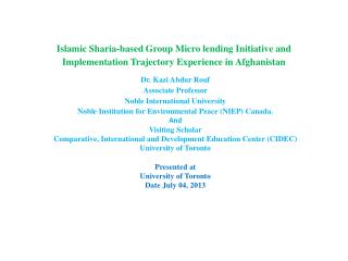 Dr.  Kazi Abdur Rouf Associate Professor  Noble International University