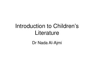 Introduction to Children's Literature