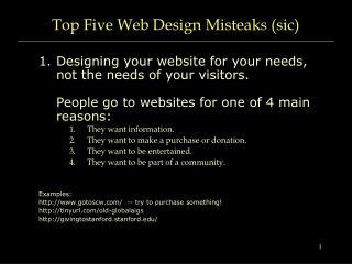 Top Five Web Design Misteaks (sic)