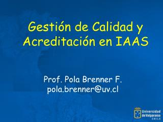 Gestión de Calidad y Acreditación en IAAS