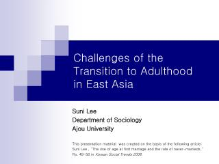 Challenges of the Transition to Adulthood  in East Asia