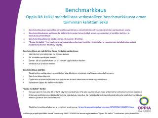 Benchmarkkausohjeistus