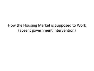 How the Housing Market is Supposed to Work (absent government intervention)