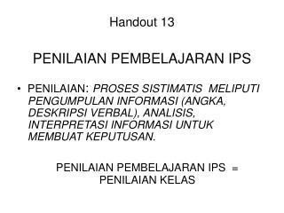 Handout 13    PENILAIAN PEMBELAJARAN IPS