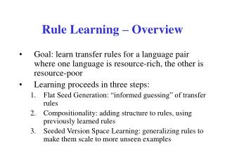 Rule Learning – Overview
