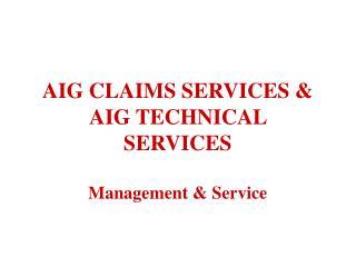 AIG CLAIMS SERVICES & AIG TECHNICAL SERVICES Management & Service