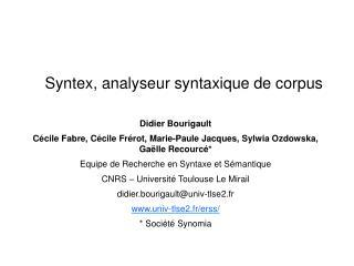 Syntex, analyseur syntaxique de corpus