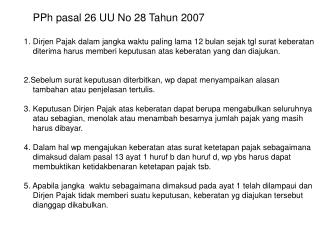 PPh pasal 26 UU No 28 Tahun 2007