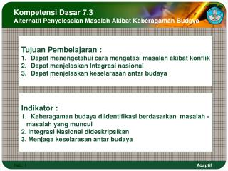 Kompetensi Dasar 7.3 Alternatif Penyelesaian Masalah Akibat Keberagaman Budaya