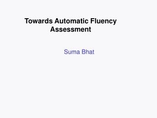 Fluency Assessment