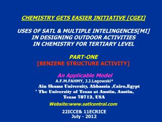 CHEMISTRY GETS EASIER INITIATIVE [CGEI] USES OF SATL & MULTIPLE INTELINGENCES[MI]